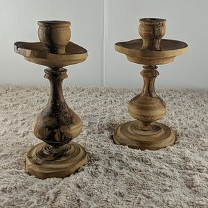 Anthropologie Wooden Candlesticks
